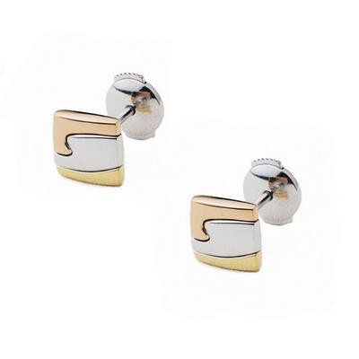Georg Jensen Fusion 三色K金小方形 耳環