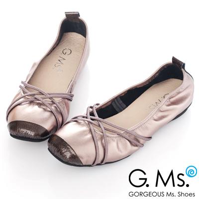 G.Ms. MIT系列-牛皮交織皮帶芭蕾舞娃娃鞋-優雅銀