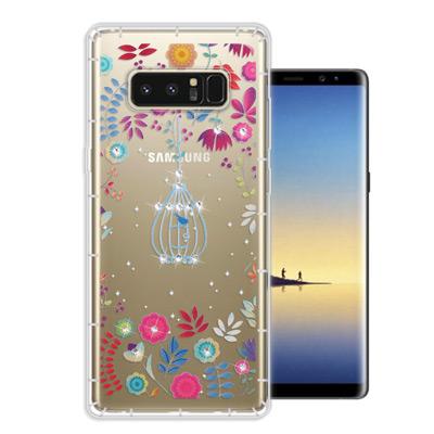 WT Samsung Galaxy Note 8 奧地利水晶彩繪空壓手機殼(鳥羽...