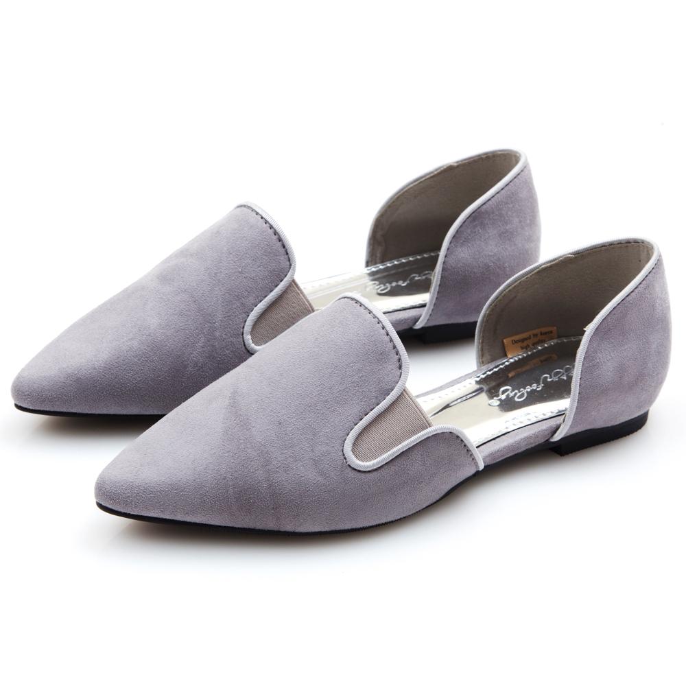 Camille's 韓國空運-麂皮絨布尖頭側鏤空平底鞋-淺灰