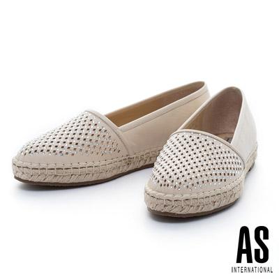 AS-菱格打洞晶鑽羊皮草編厚底休閒鞋-米