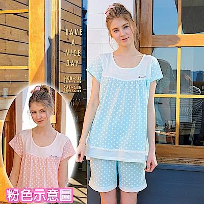 睡衣 俏皮點點 短袖兩件式睡衣(R77018-2夢幻粉) 蕾妮塔塔