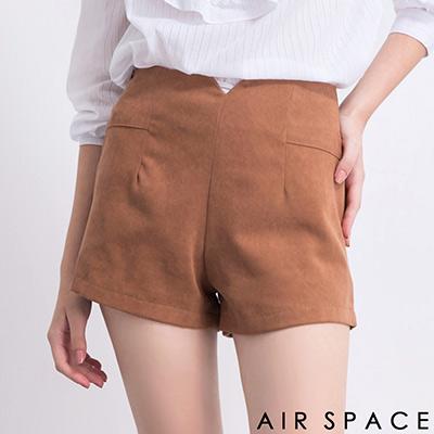 AIR-SPACE-簡約V口設計高腰西裝短褲-卡其