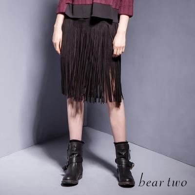 beartwo-BOHO風流蘇造型及膝裙-黑色