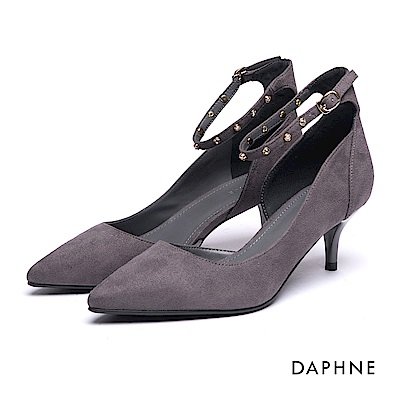達芙妮DAPHNE 高跟鞋-踝帶水鑽珍珠絨布挖空高跟鞋-灰