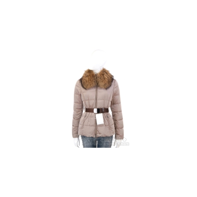 MARELLA-SPORT 卡其色車縫線設計毛領防風外套(附腰帶)