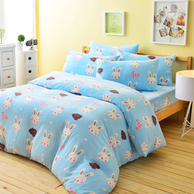 Ania Casa迷戀兔藍 加大四件式 搖粒絨 台灣製 床包被套四件組