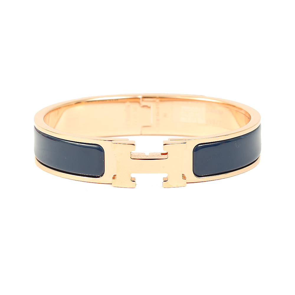 HERMES Clic H LOGO琺瑯扣式細版手環深藍玫瑰金