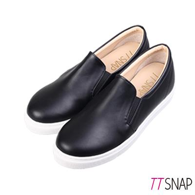TTSNAP內增高-MIT素面修長真皮內增高休閒鞋 黑