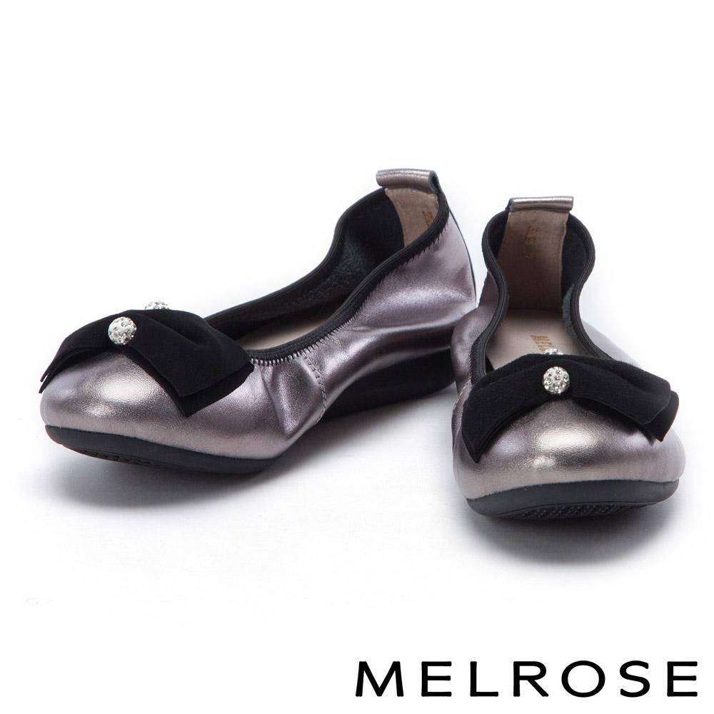 娃娃鞋 MELROSE 蝴蝶結飾釦超軟Q全真皮厚底娃娃鞋-古銅
