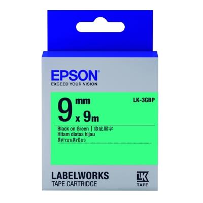EPSON C53S653405 LK-3GBP粉彩系列綠底黑字標籤帶(寬度9mm)