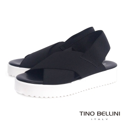 Tino Bellini 義大利進口交叉繃帶厚底涼鞋_黑