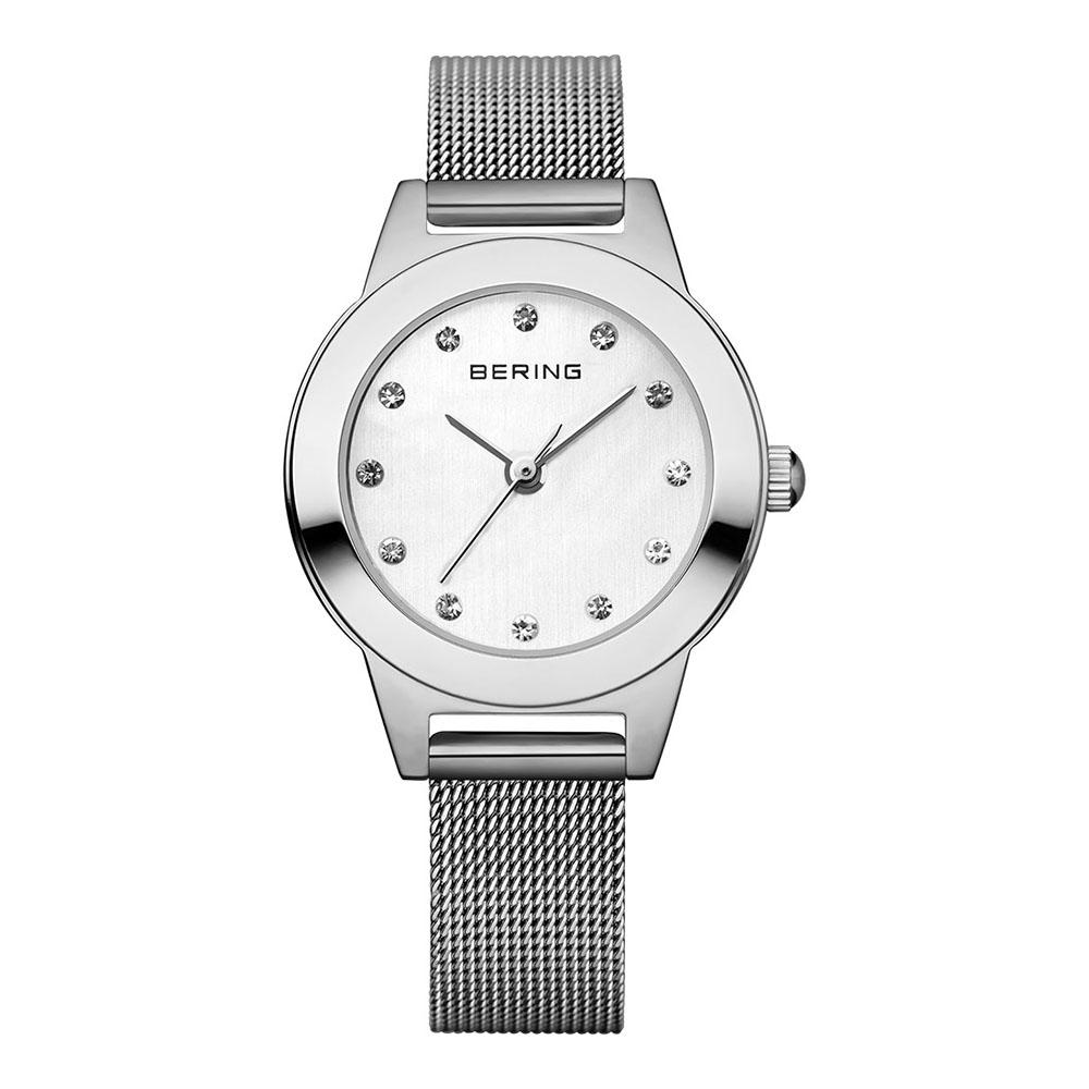 BERING丹麥精品手錶 晶鑽米蘭帶系列 銀灰 小錶面 25mm