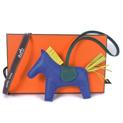 HERMES-小羊皮手工馬兒吊飾-中-靛藍