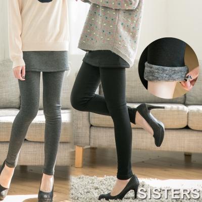 中大尺碼 加大內刷毛假兩件厚綿短裙貼腿內搭褲-SISTERS