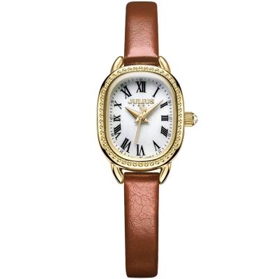 JULIUS聚利時 繁星圍繞復古設計皮帶錶-白x咖啡/20.5X25mm