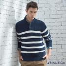 Nautica 經典螺紋修身立領針織衫-藍