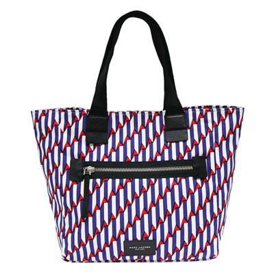 MARC JACOBS 幾何帆布肩背托特包-藍/白/紅(大)