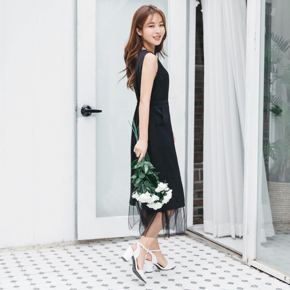 婚禮系列~網紗裙襬拼接合身純色洋裝-OB大尺碼