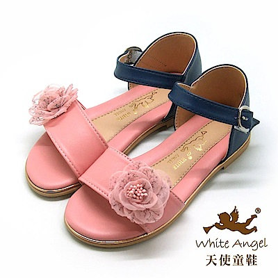 天使童鞋  清新小玫瑰雙色涼鞋J8001-粉