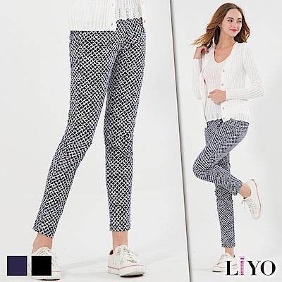 LIYO理優斜格紋印花彈力顯瘦鉛筆褲(藍,黑)