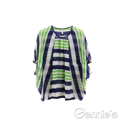 【Gennie's奇妮】不規則條紋透膚飛鼠袖孕婦上衣-藍綠 (G3517)