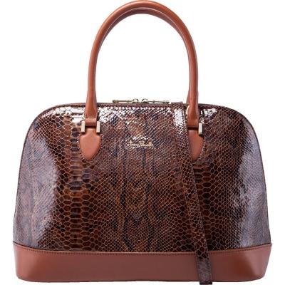 TONY PEROTTI 義大利蟒蛇紋牛皮 肩背/手提貝殼包 #9739G ( 金棕色 )