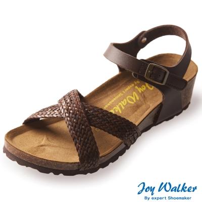Joy Walker 交叉繫帶編織楔型涼鞋*深咖啡
