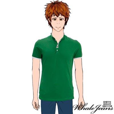 WHALE JEANS 男款文青藝男修身配色棉質POLO衫(2色)