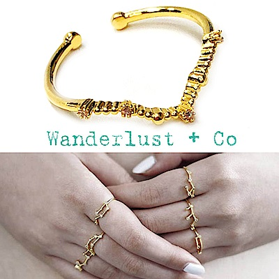 Wanderlust+Co 澳洲品牌 雙魚座戒指 金色鑲鑽戒指 PISCES