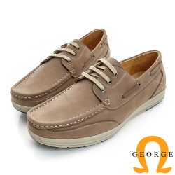 GEORGE-輕量舒適厚底真皮休閒帆船鞋-棕色