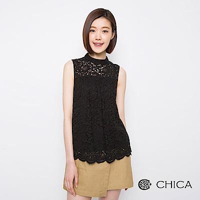 CHICA-神秘花漾拼接蕾絲無袖設計上衣-1色