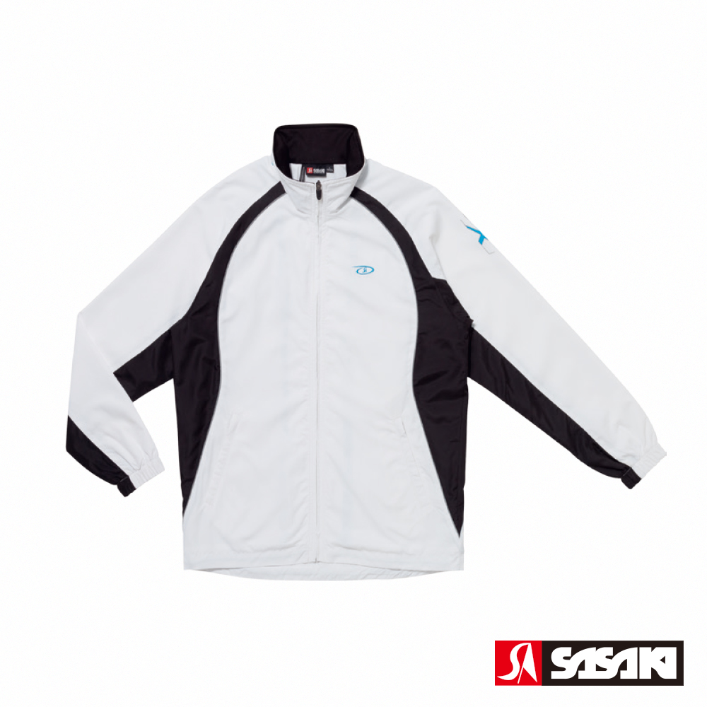 SASAKI 夜間反光功能透氣式平織運動夾克-男-白/黑/鮮藍