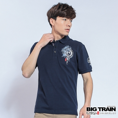 BIG TRAIN 濤浪家徽墨達人POLO衫-男-深藍
