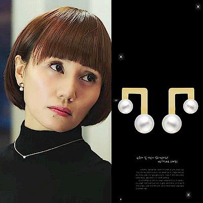 梨花HaNA 無耳洞 韓國大小珍珠音樂符號耳環夾式