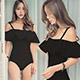 泳衣 浪漫假期 素色鋼圈一件式連身泳裝(黑M~XL) AngelHoney天使霓裳 product thumbnail 1
