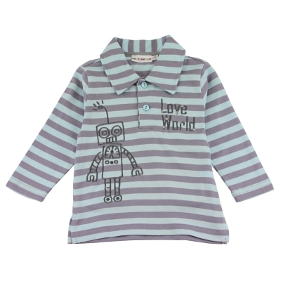 愛的世界-純棉橫條紋機器人長袖POLO衫-藍灰-6