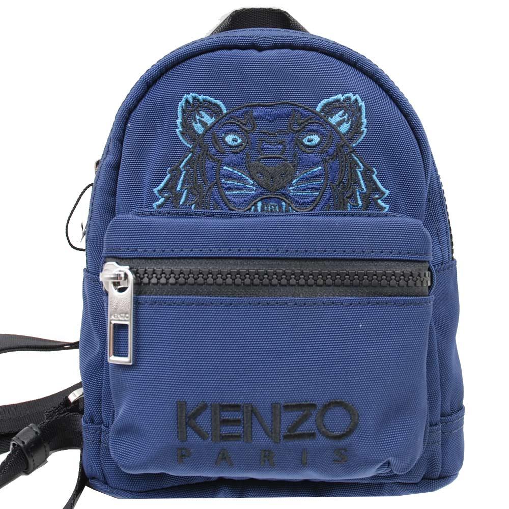 KENZO老虎圖騰字母LOGO帆布迷你斜背後背包藍迷你包