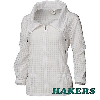【HAKERS】女-抗UV防潑格紋外套-白色