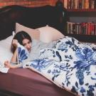 翔仔居家 台灣製 新一代防靜電極緻保暖法蘭絨x羊羔絨 特厚暖暖被【法藍】