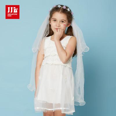 JJLKIDS 氣質小名媛荷葉邊造型無袖洋裝