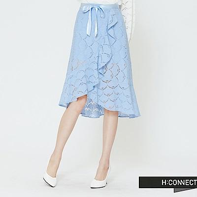 H:CONNECT 韓國品牌 女裝 -蕾絲綁帶不規則中長裙-藍