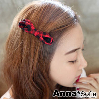 AnnaSofia-英倫格紋繞結-純手工小髮夾-紅黑系