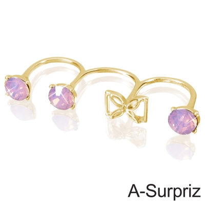 A-Surpriz 韓劇來自星星的你千頌依美鑽連環戒指(金色)