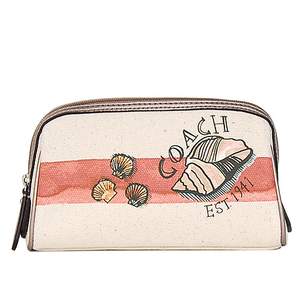 COACH 新款貝蚌海洋風塗鴉化妝包/手抓包