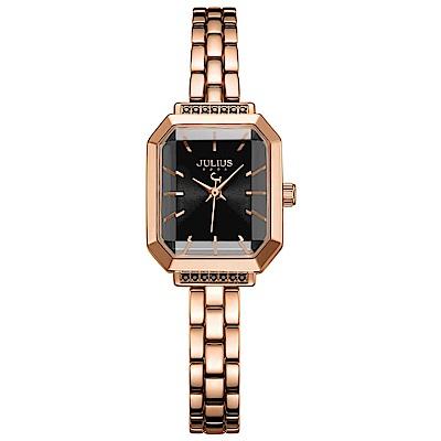 JULIUS聚利時 巴黎戀人復古方形鍊帶腕錶-玫瑰金X優雅黑/20X17mm