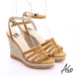 A.S.O 完美涼夏 真皮手工編織楔型涼鞋 黃色