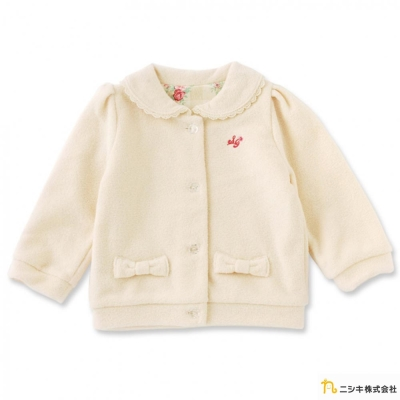 Nishiki 日本株式會社 米黃碎花格紋蝴蝶結外套