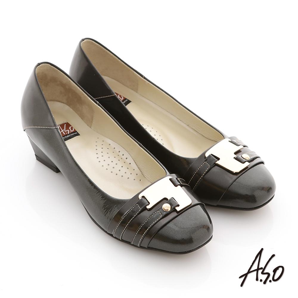A.S.O 玩美彈麗 全真皮金屬裝飾鏡面低跟鞋 黑