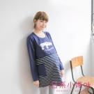 日系小媽咪孕婦裝-哺乳衣~假二件動物印圖條紋洋裝 (共二色)